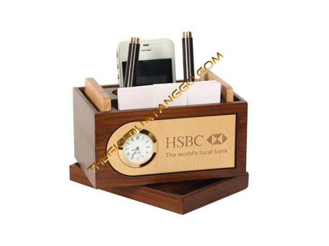 Hộp Lọ Cắm Bút Gỗ Walnut Cao Cấp kết hợp đồng hồ để bàn